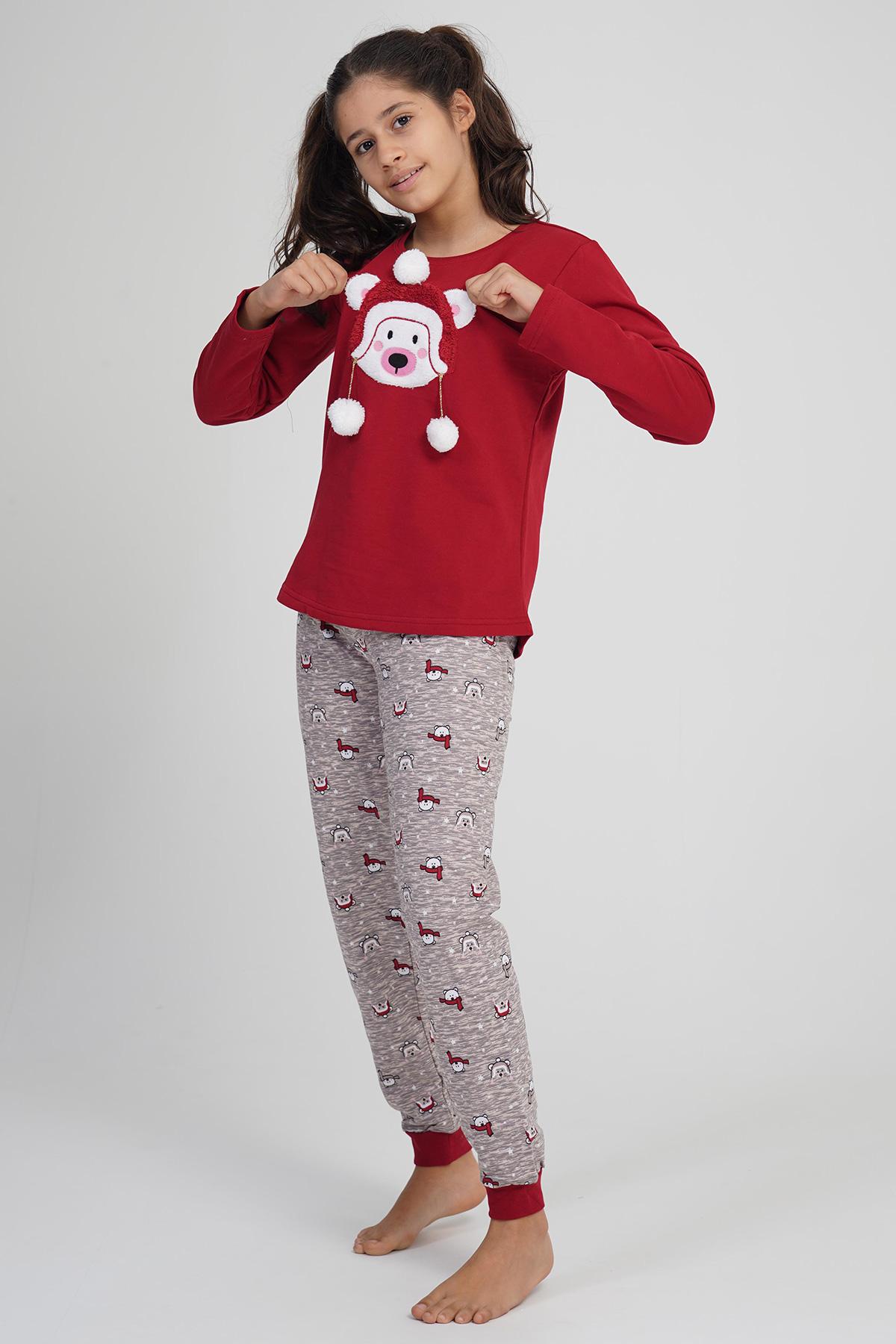 Kız Çocuk 2 İplik Ponpnlu Pamuklu Uzun Kol Pijama Takım