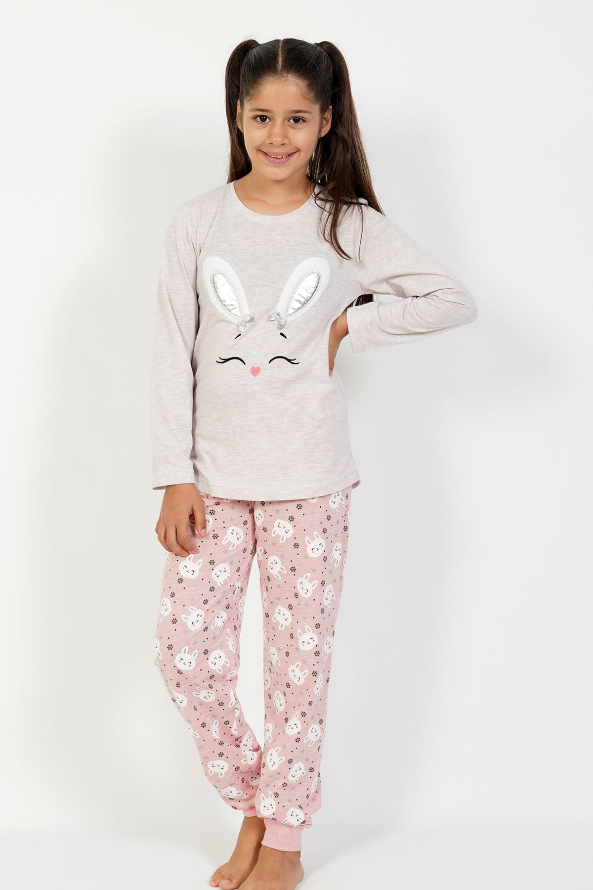 Kız Çocuk Uzun Kol Pamuklu Pijama Takım